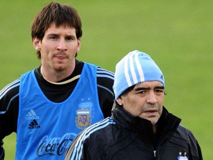 Messi y Maradona compartieron vestuario en Sudráfrica 2010.