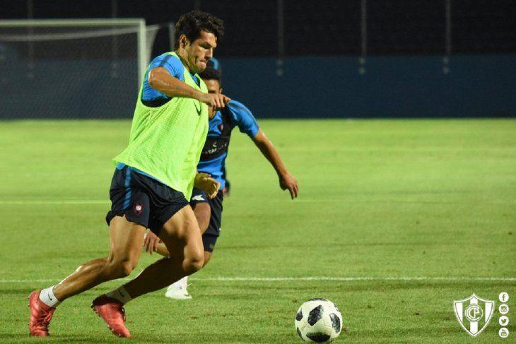 Nelson Haedo durante un entrenamiento de Cerro Porteño.