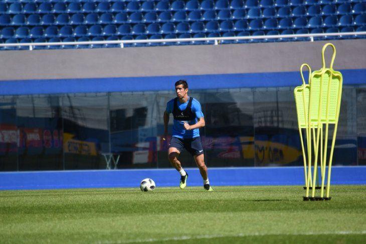 Víctor Cáceres durante un entrenamiento.