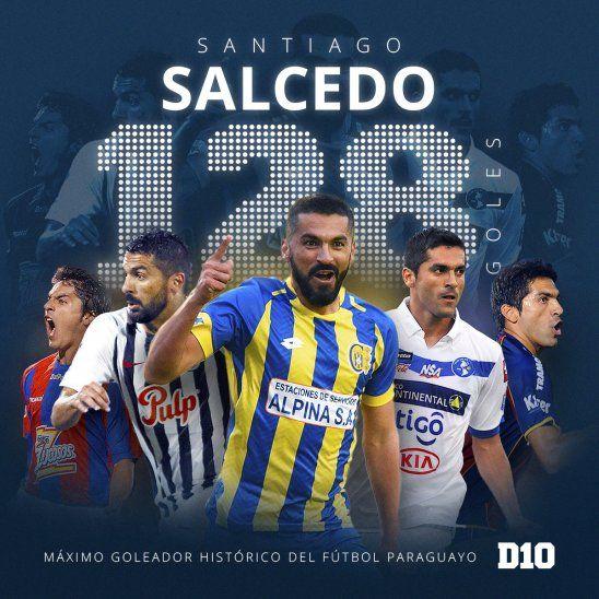 Santiago Salcedo es el máximo goleador de nuestro fútbol.
