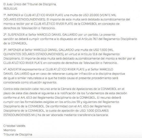Gallardo y Barros Schelotto, suspendidos