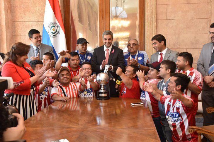 Los campeones visitaron al primer mandatario.