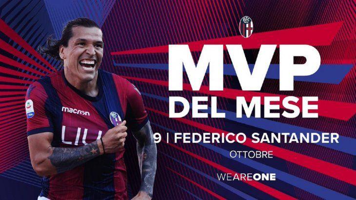 Federico Santander elegido el MVP del Bologna por segundo mes consecutivo.