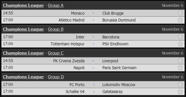 Los partidos de Champions para este martes.