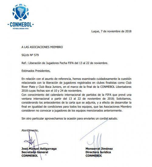 El comunicado oficial de la Conmebol.