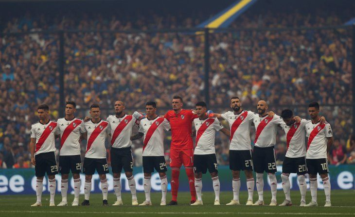 Jugadores de River Plate antes del partido ante Boca.