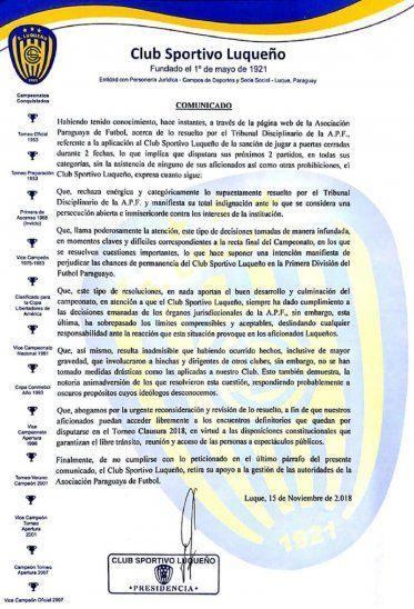 El comunicado oficial de Luqueño.