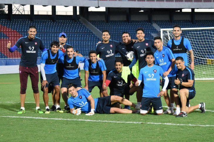 Marcos Acosta Rojas (derecha arriba) tras un entrenamiento.