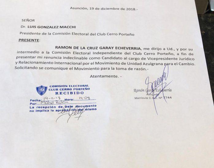 La renuncia que presentó Ramón Garay.