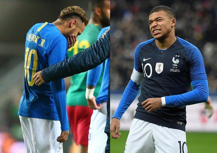 Neymar y Mbappé se lesionaron al servicio de sus selecciones.