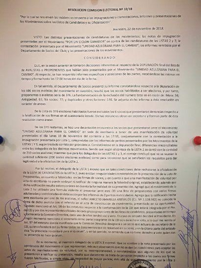 Detalles de la resolución contra Maldonado