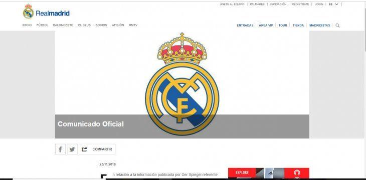 El club merengue emitió un comunicado al respecto.