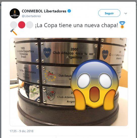 Feo error en la Copa Libertadores.