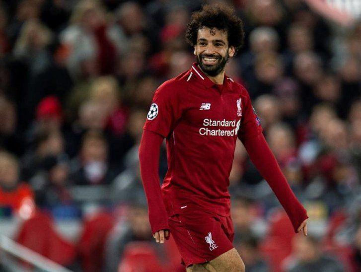 Salah celebra el gol marcado con elLiverpool.