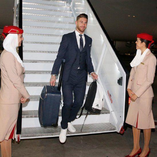 Sergio Ramos a su llegada a Abu Dabi.