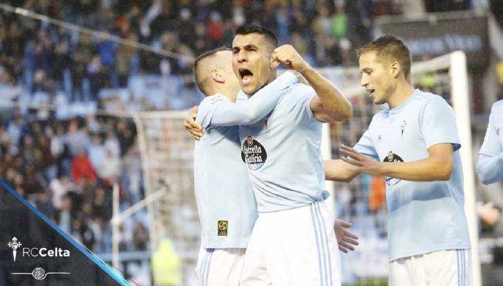 Junior Alonso celebra un gol en el Celta.