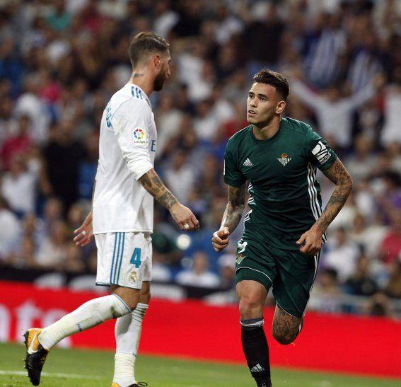 Tonny Sanabria festeja un gol ante el Real Madrid.