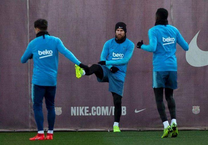 Messi durante el entrenamiento del Barcelona.