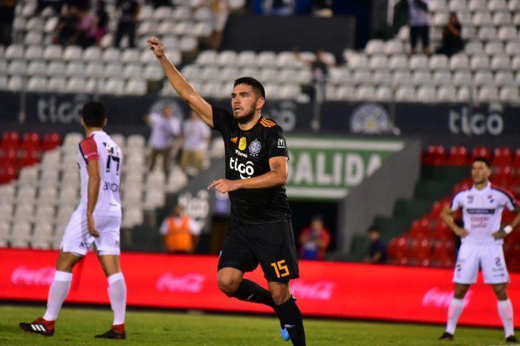 Jorge Ortega celebra el gol marcado ante Nacional.