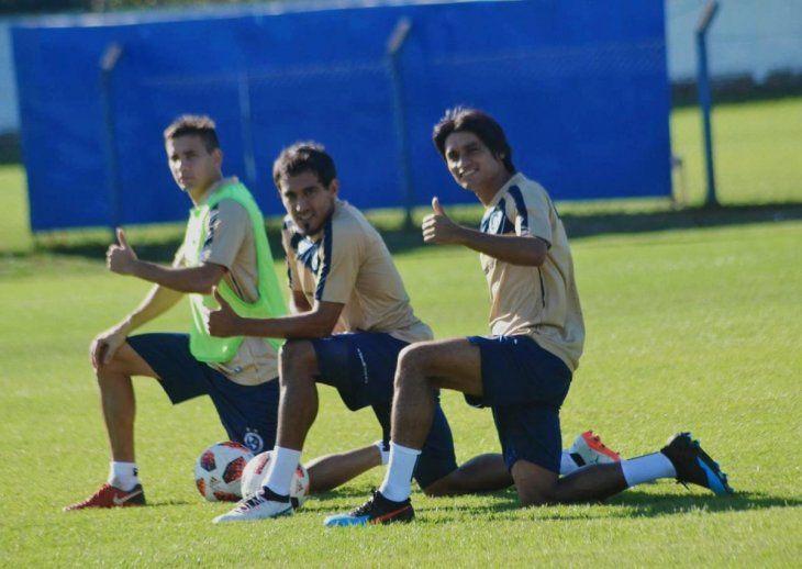Jugadores del Unicolor durante un entrenamiento del equipo.
