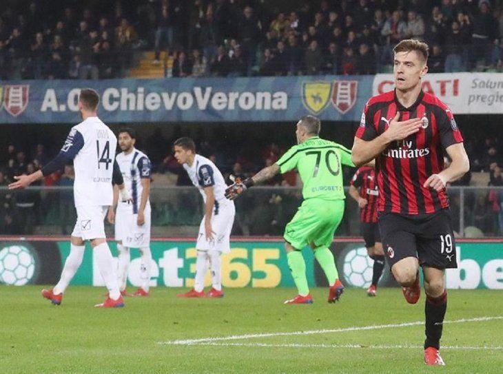 Un jugador celebra el gol marcado ante Chievo.