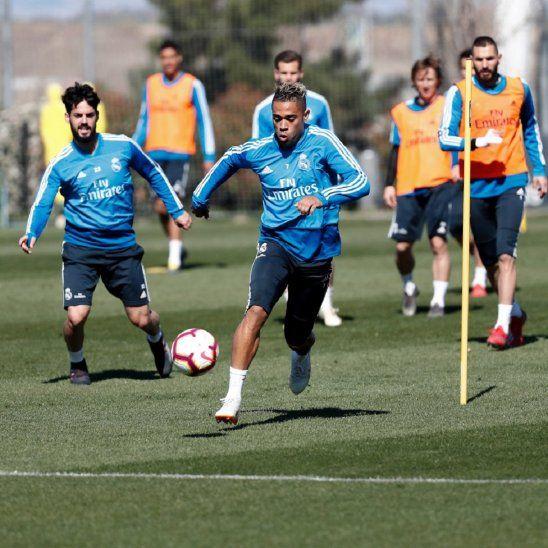 Isco durante el entrenamiento del Real Madrid.