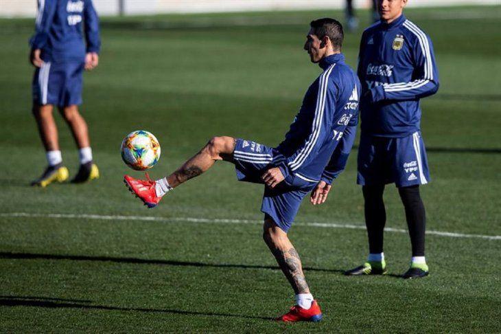 Ángel Di María durante un entrenamiento de Argentina.