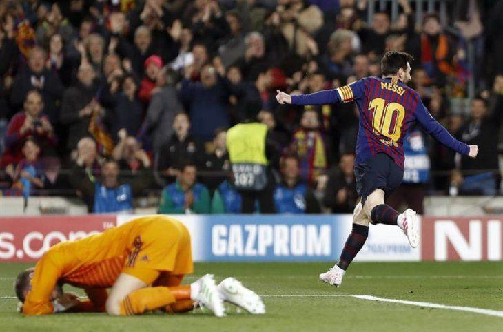 Lionel Messi celebra el gol marcado ante el United.