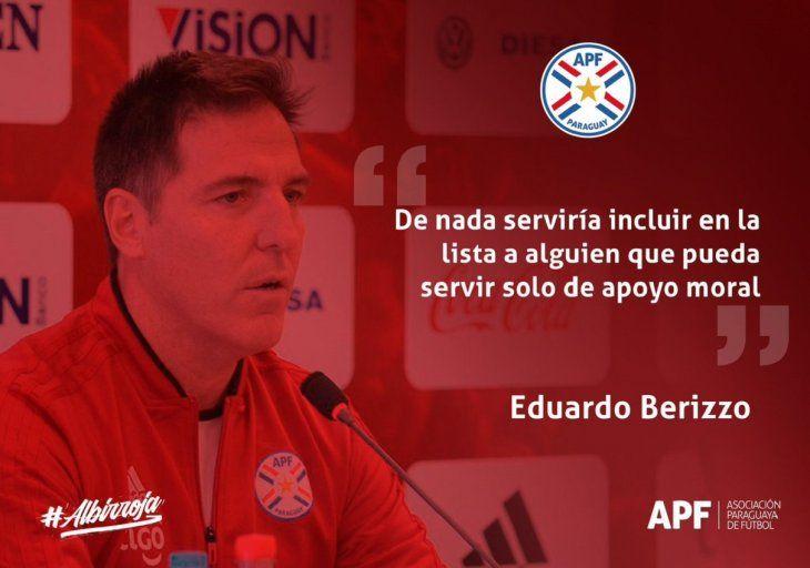 Berizzo destacó que la convocatoria de Roque Santa Cruz y Óscar Cardozo se debe al mérito futbolístico que ambos hicieron.