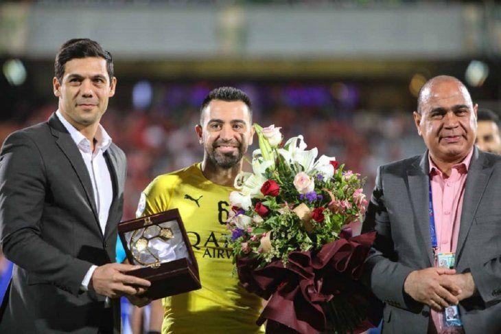 Xavi Hernández durante una premiación.