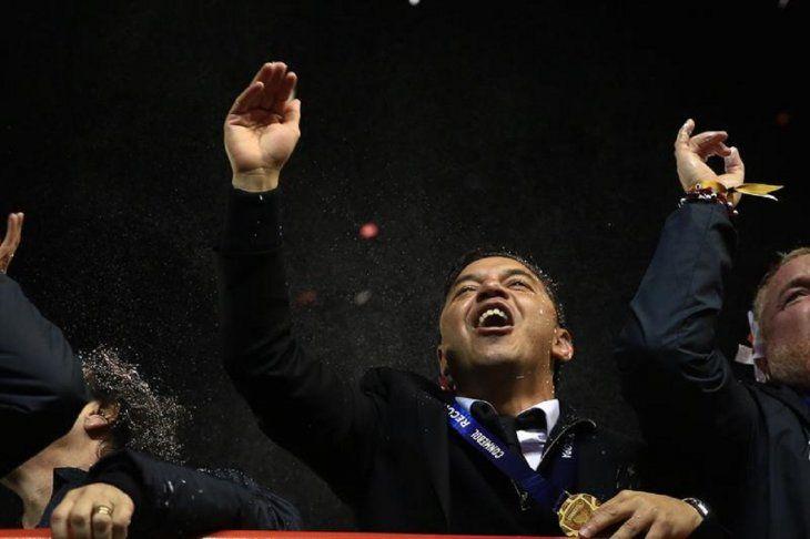 Marcelo Gallardo celebra otro título con River Plate.