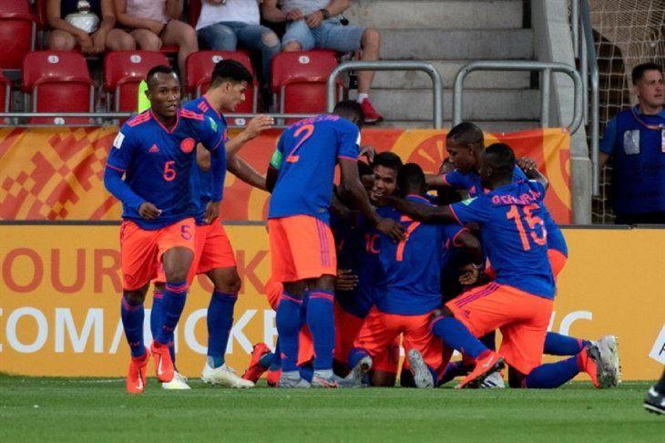 Jugadores de Colombia el gol marcado ante Nueva Zelanda.