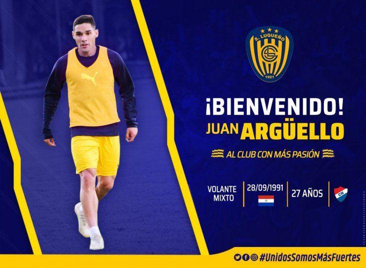 Juan Argüello seguirá su carrera en el Sportivo Luqueño.
