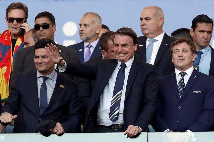Bolsonaro y Domínguez durante la final de la Copa América.