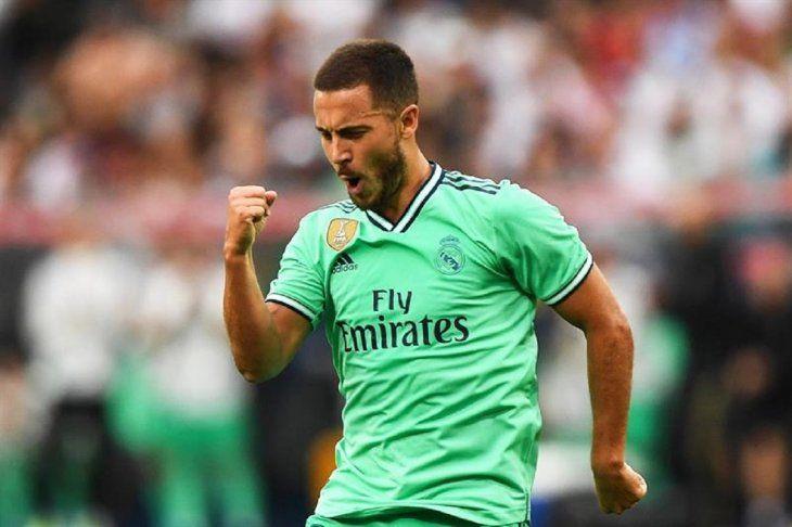 Hazard celebra el primer gol con la camiseta del Real.