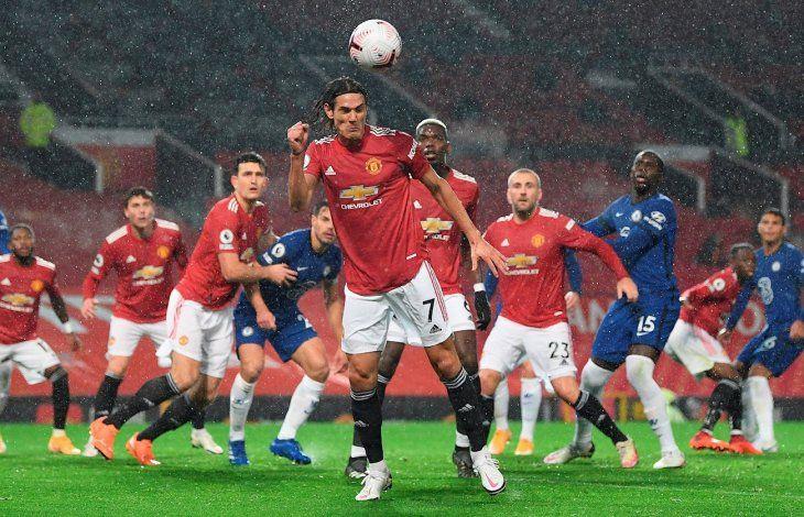 Cavani debutó con la camiseta del United.