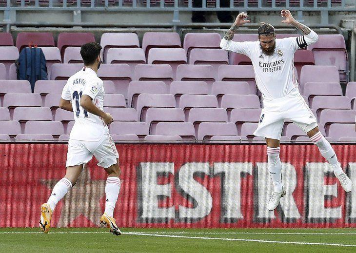 Así festejó Ramos su gol en el Clásico.