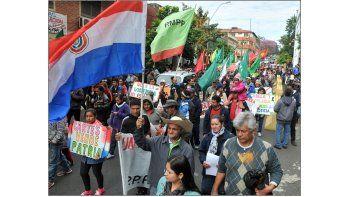 Este día se realiza la manifestación central de organizaciones sociales y políticas en repudio al gobierno de Horacio Cartes, a un año de su asunción.   Foto: José Bogado
