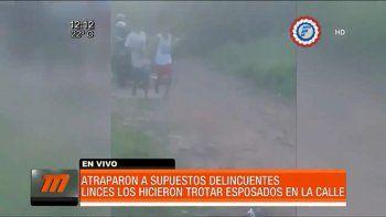 Dos supuestos delincuentes quedaron detenidos por la Unidad de Operaciones Tácticas Motorizadas (Grupo Lince) en el asentamiento Nueva Esperanza 2 del barrio Huguito de Limpio.
