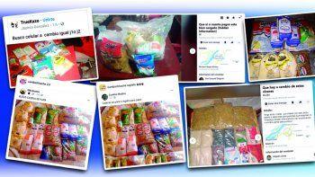 Kits de alimentos que el Ministerio de Educación entrega gratuitamente en reemplazo del almuerzoescolar son comercializados abiertamente en las redes sociales.