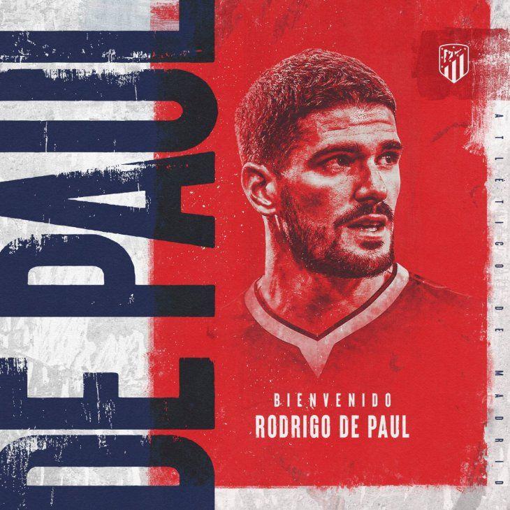 Rodrigo De Paul jugará en el Atlético de Madrid.