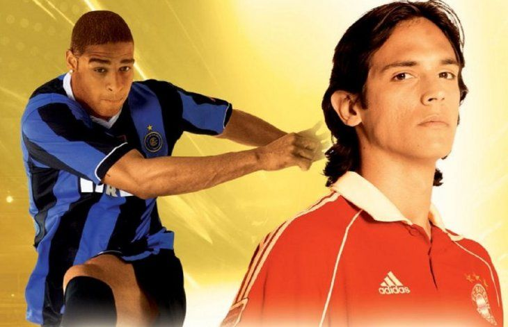 Roque Santa Cruz y Adriano en la portada del Pro Evolution Soccer 6.