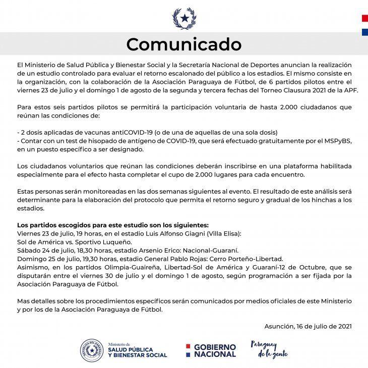 APF: Salud autoriza regreso de público en 6 partidos piloto