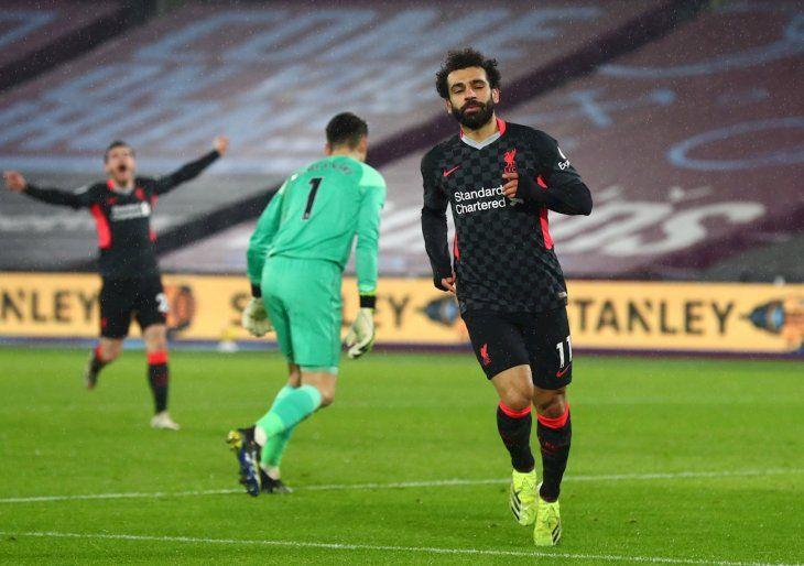 Mohamed Salah celebra un gol del Liverpool.