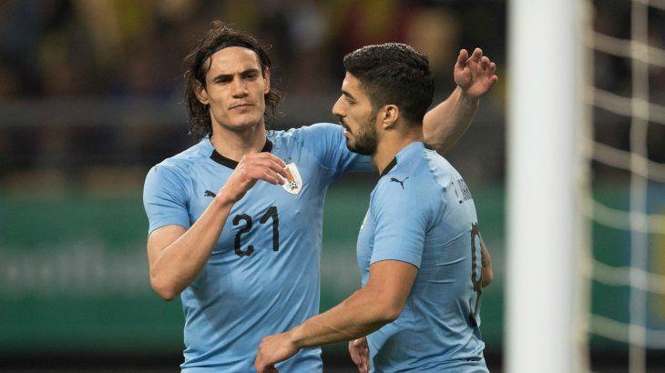 Cavani y Suárez juntos en la selección de Uruguay.