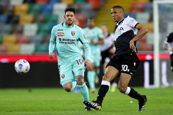 Antonio Sanabria durante el partido del Torino.