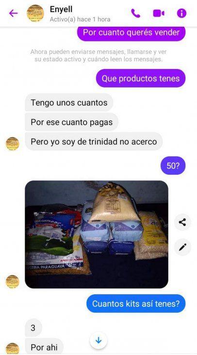 Negocio con víveres del MEC. Comerciante ofrece productos del kit escolar a G. 60.000 y pide unadorno para pared a cambio de leche en polvo