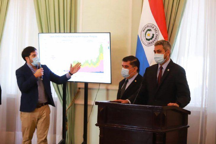 El presidente Mario Abdo Benítez (d) encabezó una conferencia este lunes acompañado del ministro de Salud