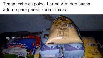 Negocio con víveres del MEC. Comerciante ofrece productos del kit escolar a G. 60.000 y pide unadorno para pared a cambio de leche en polvo, harina y almidón, que se distribuyen en las escuelas.