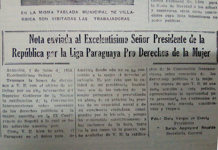 Carta enviada en 1956 al presidente Alfredo Stroessner en búsqueda de la aprobación del sufragio femenino.